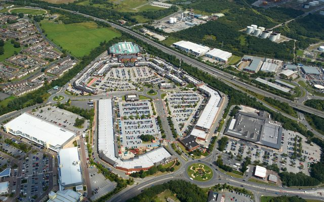 Retail park, aerial photo, outdoors